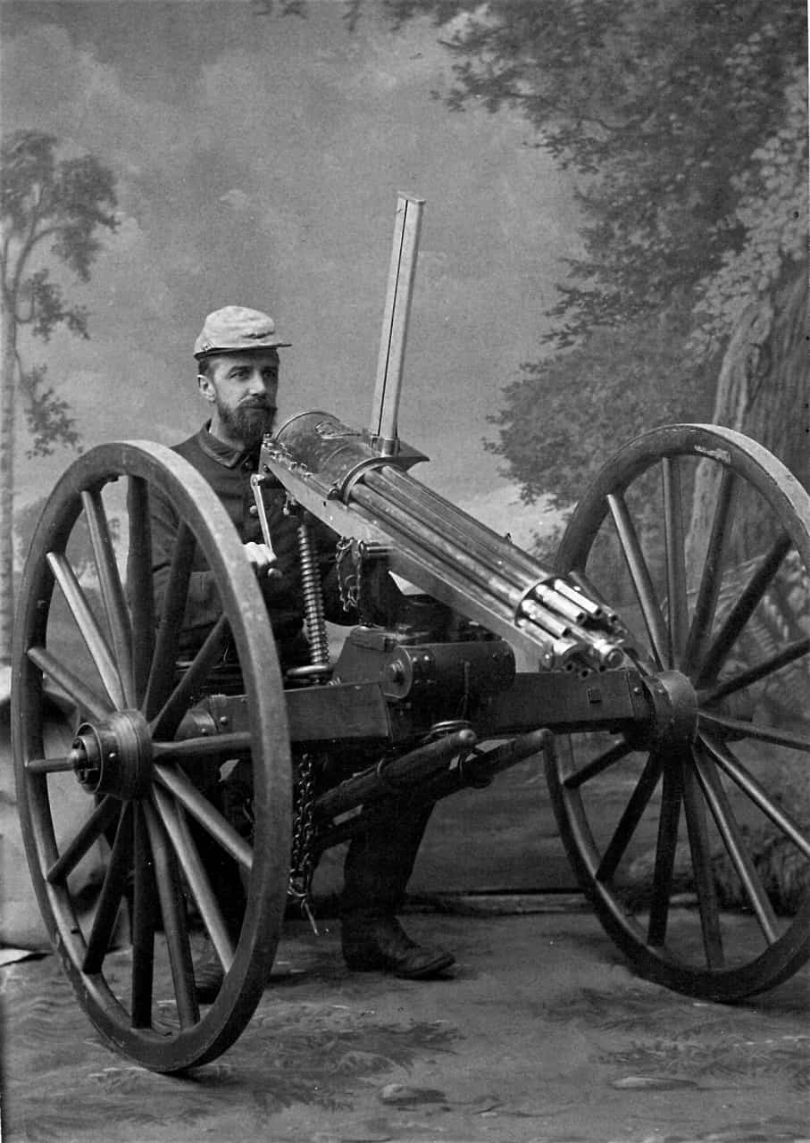 1885-Captain-Gat-Howard-with-a-Gatling-Machine-Gun-used-during-Batoche